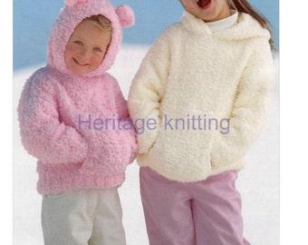 girls Sweater with hood  knitting pattern 99p pdf