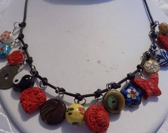 Vintage necklace, yin/yang, chinese coin, cinnabar butterflies and flowers, cloisonne flowers, charm necklace, vintage jewelry