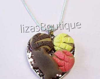 Conchita puerquito handmade necklace mexican bread vanilla chocolate fresa pink brown latin culture clay charm silver base chingona food