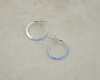 Size 1 Silver Double Forged Hoops, Argentium Silver Hoops, Silver Hoop Earrings, Handforged Silver, Everyday Earrings