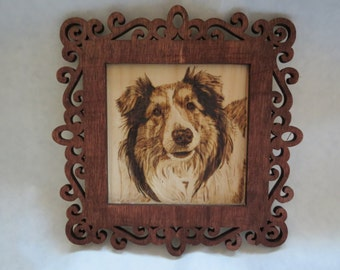 Pet Portrait Collie Hand Burned Pyrographic Art Wall Plaque Framed Made to Order by Shannon Ivins