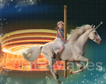 Carousel Unicorn Digital Background