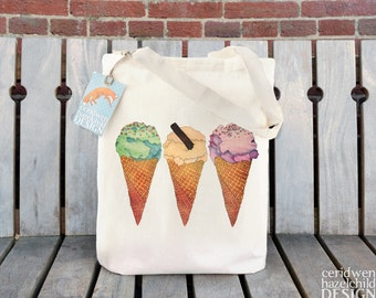 Ice Cream Tote Bag, Ethically Produced Reusable Shopper Bag, Beach Bag, Cotton Tote, Shopping Bag, Eco Tote Bag, Reusable Grocery Bag