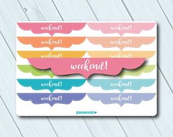 Weekend Banner Planner Stickers - Erin Condren Life Planner - Happy Planner - Matte or Glossy