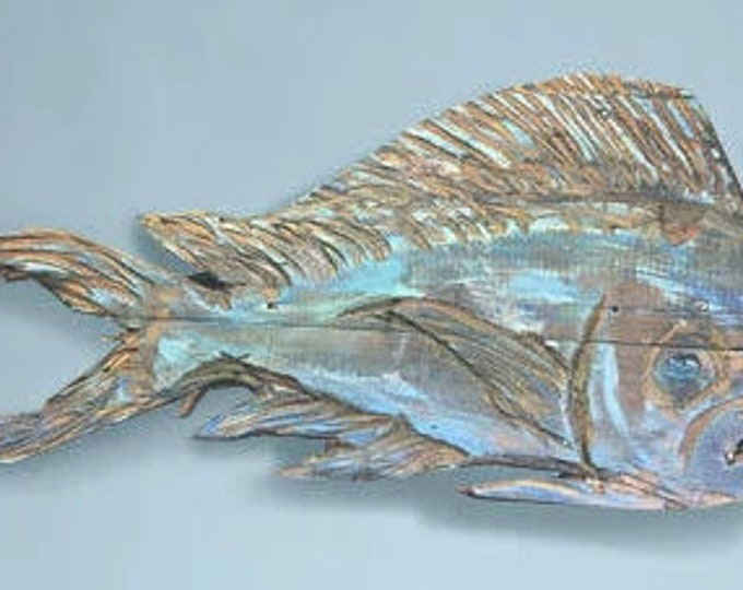 "For Brenda Morton Driftwood Beach Décor 45"" Dolphinfish 2d sculpture by SEASTYLE"