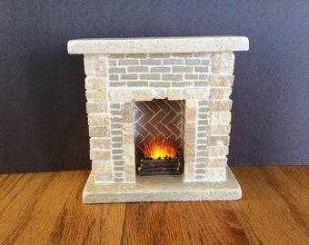 MasonryMiniatures #72- Miniature fireplace made from travertine stone & handmade brick/1:12 scale