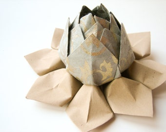 Origami Lotus Flower - Handmade Paper Flower // made from grey metallic filigree paper with a choice of tan or green leaves