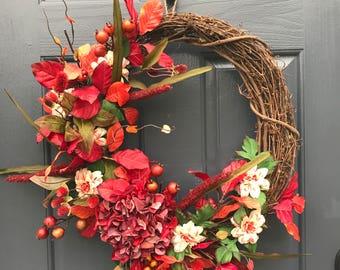 Fall Wreath, Fall Door Wreaths, Wreaths for Fall, Front Door Wreaths, Red Wreaths, Red Door Decor, Hydrangea Wreath, Fall Hydrangea Wreath