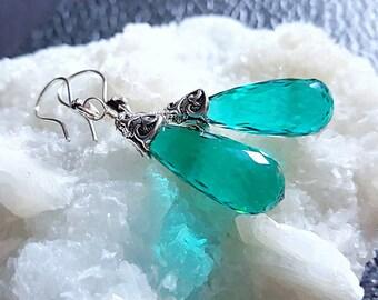Green Quartz Teardrop Earrings with Oxidized Sterling Silver Emerald Green Dangle Earrings