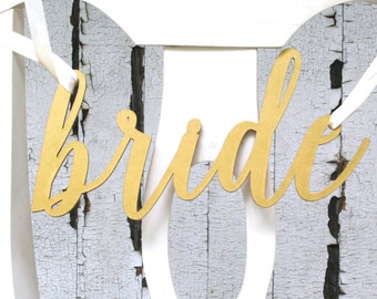 Bride and Groom Gold Calligraphy Chair Signs, Laser Cut Calligraphy Style