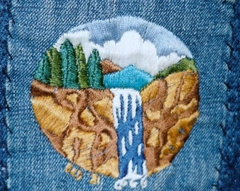 ONE OF A Kind Original Hand Embroidered Denim Mountain Waterfall 1981