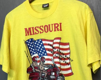 XL vintage 90s 1991 Missouri Gold Wing motorcycle rally t shirt