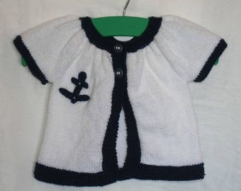 Kina short sleeve Navy Blue and white vest size 6 months hand made wool