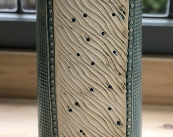 Tall Flattened Oval Vase, Stoneware with Shiny Celadon Green Glaze and Unglazed Texture Stained with Copper Oxide for a nice green tint