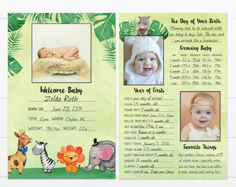 """Jungle Theme Baby's First Year Memory """"Book"""""""