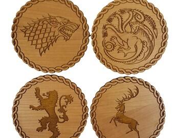 Game of Thrones Inspired Wooden Coasters - Set of 4 Main House Sigils - Cherry Wood Veneer