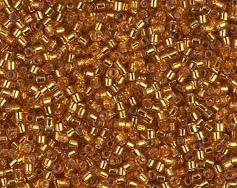 11/0 Miyuki Delica Seed Beads DB1201 - Silver Lined Marigold Delica 1201 - 6 Grams - Delica DB-1201, Delica 1201