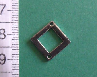 12mm square silver connector 2 holes