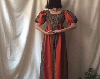 70's Prairie Patchwork Dress by Couriers for California, small