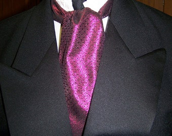 """SALE Ascot or Carvat Black and Fuchisa lemay fabric 4"""" x 54"""" Mens Historial Bow Tie or Wedding, cravat tie"""