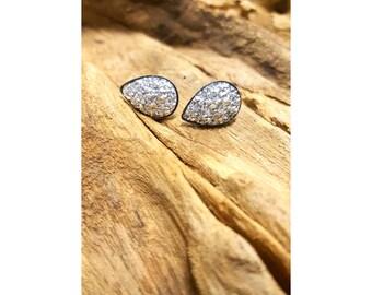 Silver Faux Druzy Surgical Steel Tear drop Stud