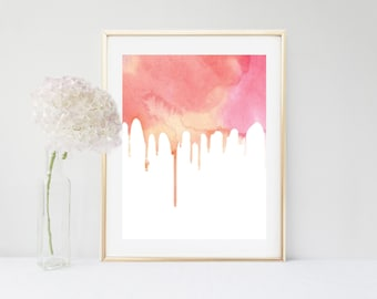 Pink Watercolor, Art Print, Abstract Art, Printable Art, Instant Download, Home Decor, Wall Decor, Wall Art, digital Print