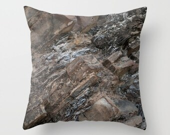 Rock Pillow Cover, Rustic Decor Accent Cushion Case, Earthy Greige Man Cave Sofa Accent, Mountain Cottage Theme Throw Pillows, Abstract Grey