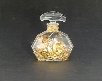 Bohemian Czech Art Deco Crystal Clear Cut Glass Perfume Bottle