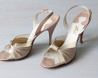 1950s Shoes / 50s Heels / Vintage Bride  / Slingbacks  / Pink  / Blush / Rhinestone Perspex spring fling Mules US 6.5-7 / UK 5 / EU 37-38