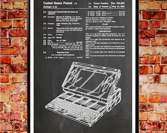 Laptop Patent Apple Poster Apple Computer Apple Wall Art Apple Mac Computer Wall Art Computer Gift for Computer Blueprint Art WB#003