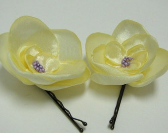 Yellow satin fabric flower hair pin