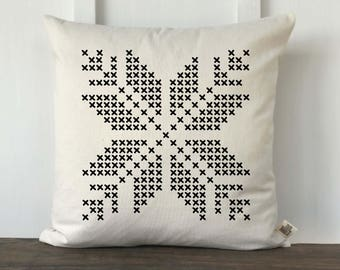 Cross Stitch Snowflake Pattern Farmhouse Pillow Cover, Farmhouse Winter Pillow, Decorative Christmas Pillow, Couch Pillow cover