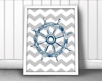 Ship Wheel Chevron Art Print, Nautical Art Print, Ship Helm Art Print, Nautical Ocean Sea Art Print, Ship Steering Wheel Print, Helm Print