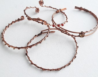 Bracelet handmade from copper wire and Crystal wire wrapped jewelry/red and Silver gift idea
