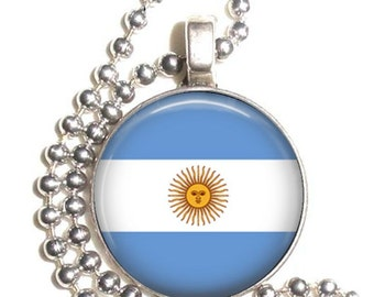 Argentina Flag Art Pendant, Earrings and/or Keychain, Round Photo Silver and Resin Charm Jewelry, Flag Earrings, Flag Key Fob