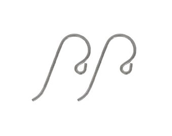 Tierracast Niobium Hypoallergenic Ear Wires - 2 Pairs Small Loop - Grey Dark Silver Color