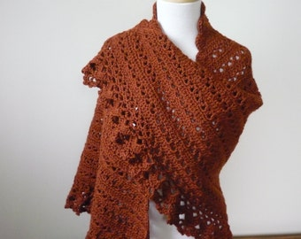 Crochet Shawl in Rich Spicy Brown Tones - Wrap Evening Wear - Ready to Ship - Direct Checkout - Gift for Her