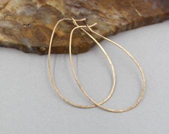 Hammered Bronze Oval Hoops, Bronze Earrings,  Medium Bronze Hoop Earrings, Avocado Shaped Hoop Earrings, Lightly Hammered
