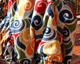 Fleece Blanket - Swirls with Blue with Woven Edge