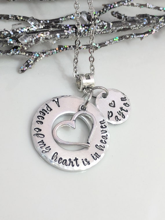 Loss Jewelry- A Piece Of My Heart- Sympathy Gift- Remembrance Jewelry- Customized Memorial Necklace- Heart Jewelry- Keepsake Necklace- Gift