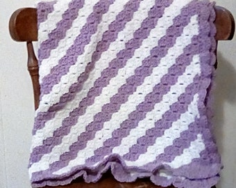 Purple and White Striped Baby Blanket