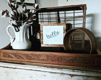 Mini Farmhouse Style Sign 'Hello'