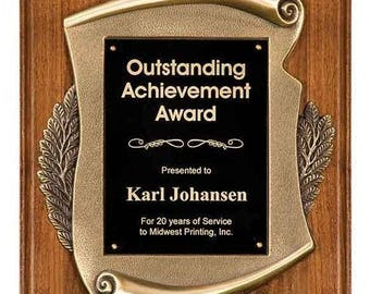 Scroll firefighter award plaque in Walnut