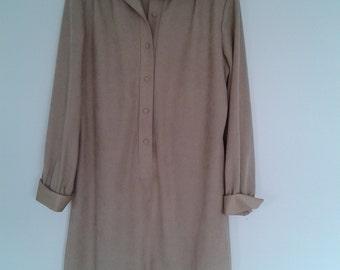 Vintage LANVIN 1970's Shirtwaist Dress Large.