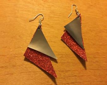 R.I.O.T. Red Glitter Metallic Earrings