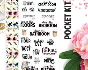 POCKET - Pocket Floral - Floral Functional - Functional Kit - Planner Stickers