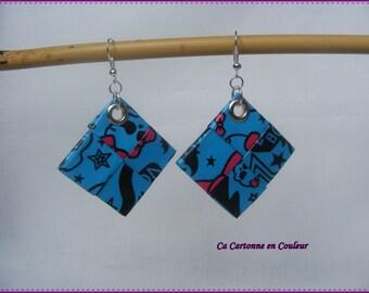 Blue, black and pink pierced earrings