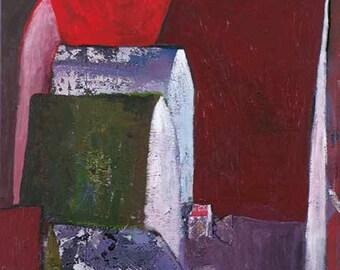 Fine art, Urban, Landscape, Roof, House, Original painting, Contemporary art, Urban Series #2