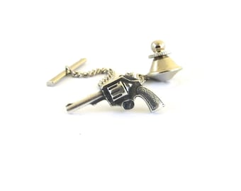 Gun Tie Tack Sterling Silver Ox Finish Gifts For Men