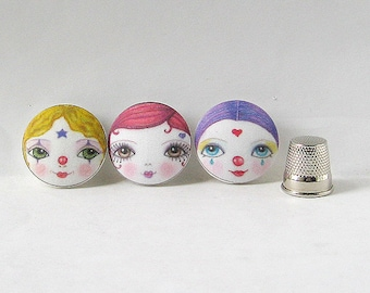 Clown Buttons, Circus Buttons, Craft Buttons, Unusual Covered Buttons, Gift for Crafter, Fabric Buttons, Sewing Buttons